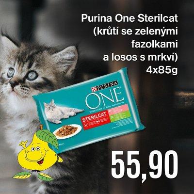 Purina One Sterilcat (krůtí se zelenými fazolkami a losos s mrkví) 4 x 85 g