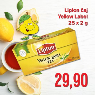Lipton čaj Yellow Label 25 x 2 g