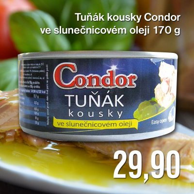 Tuňák kousky Condor ve slunečnicovém oleji 170 g