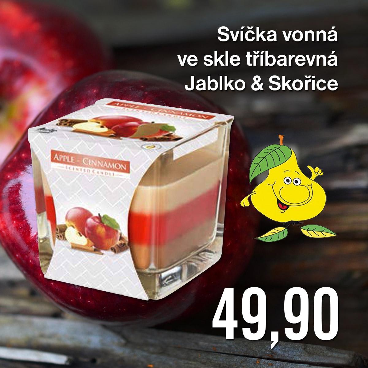 Svíčka vonná ve skle tříbarevná Jablko & Skořice