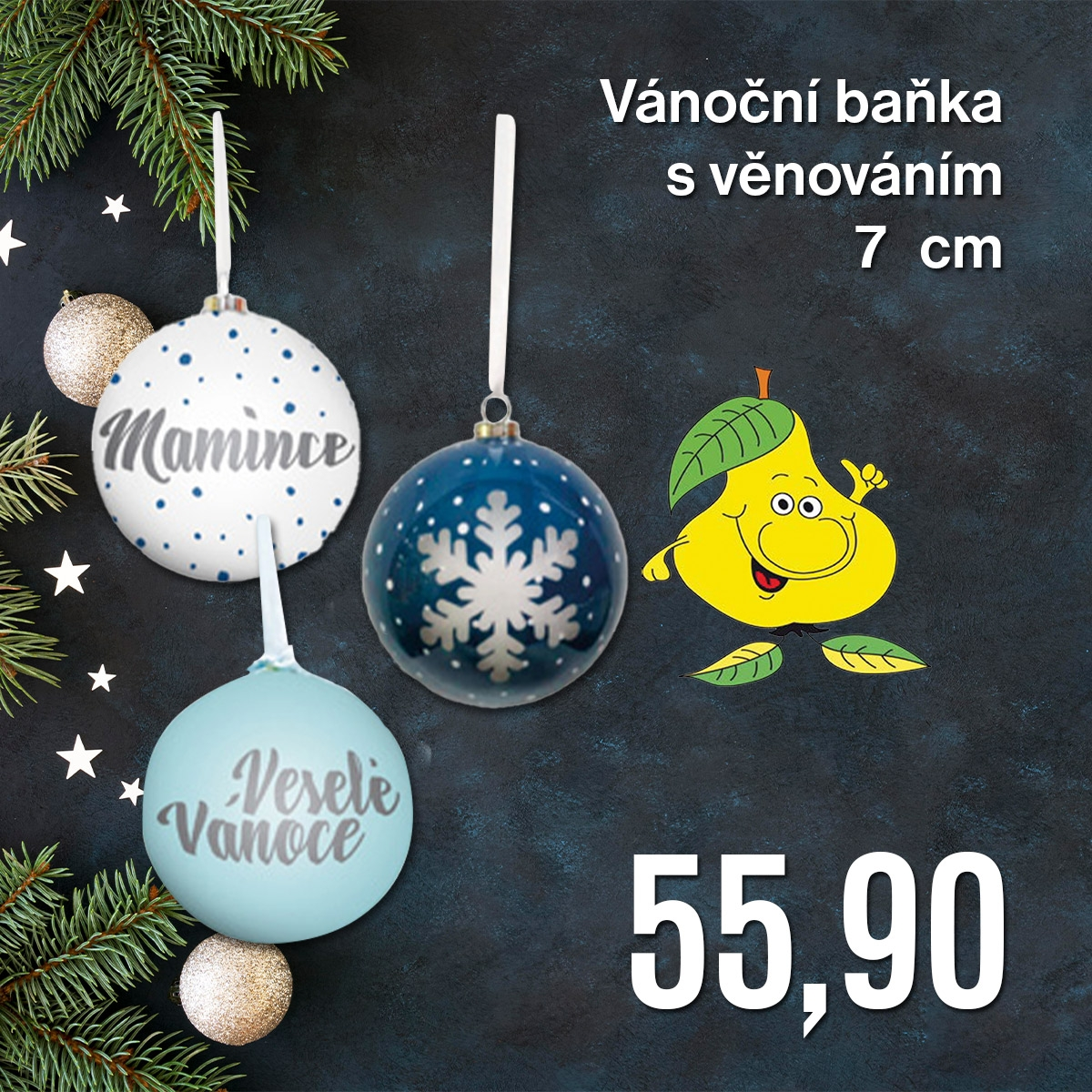 Vánoční baňka s věnováním, 7 cm, vybrané druhy