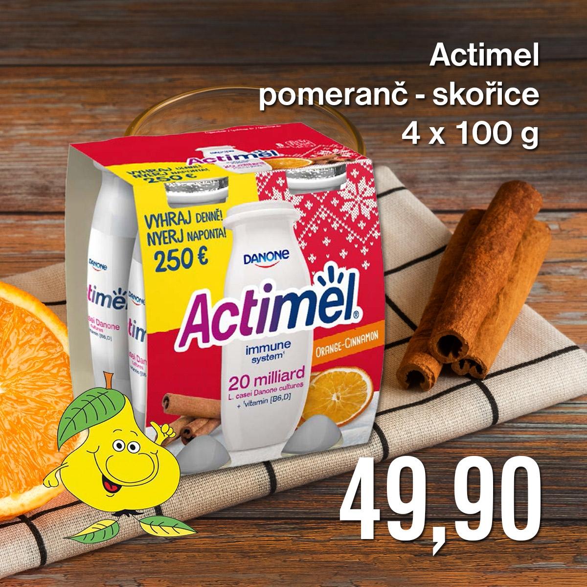 Actimel pomeranč-skořice 4 x 100 g