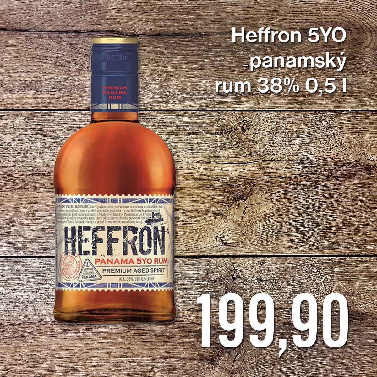 Heffron 5YO panamský rum 38% 0,5 l