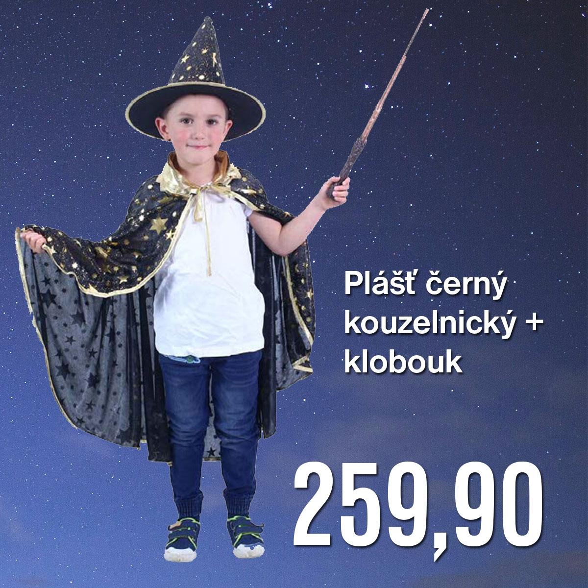 Plášť černý  kouzelnický +  klobouk