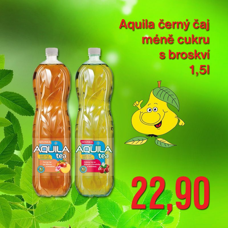 Aquila černý čaj méně cukru s broskví 1,5 l