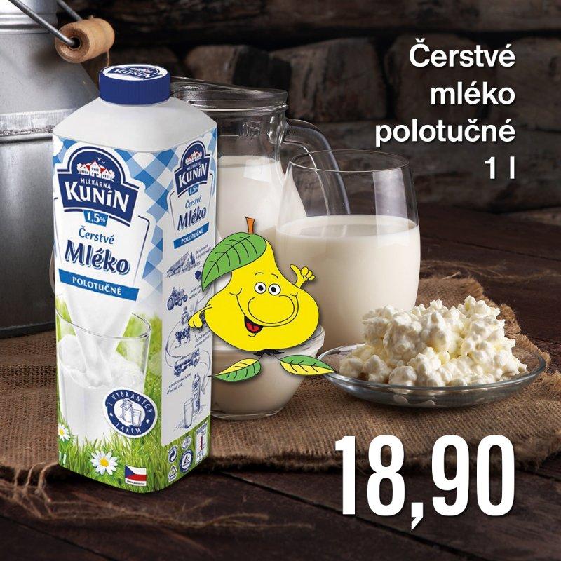 Čerstvé mléko polotučné 1 l
